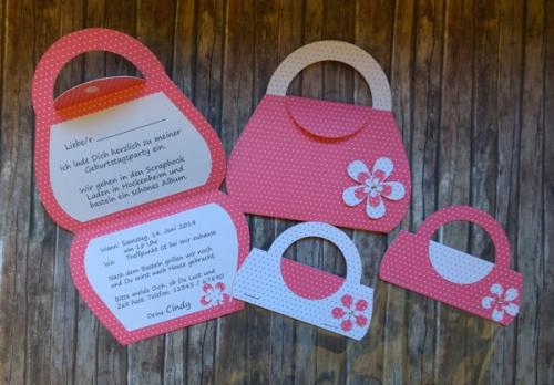 Handtasche Einladung pink