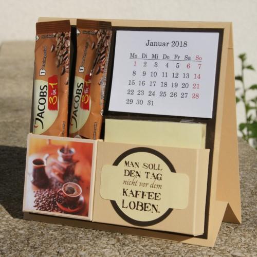 Kreativ Set Aufsteller mit Kalender, Blöckchen und Kaffee